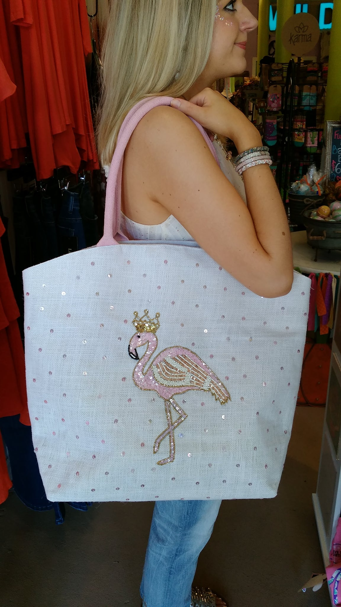 Grand Flamingo Sparkle Tote