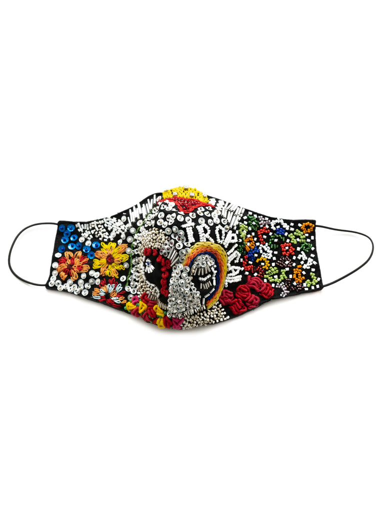 Hand Embellished Face Mask In Carnival Print