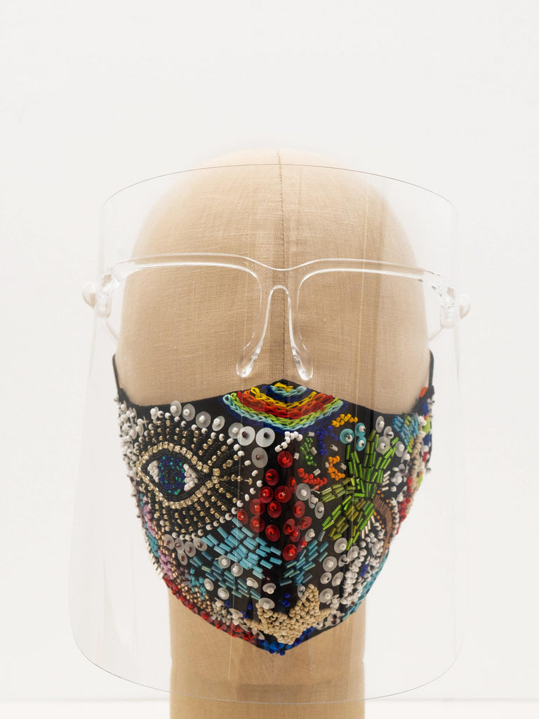 Hand Embellished Face Mask In Ipanema Print