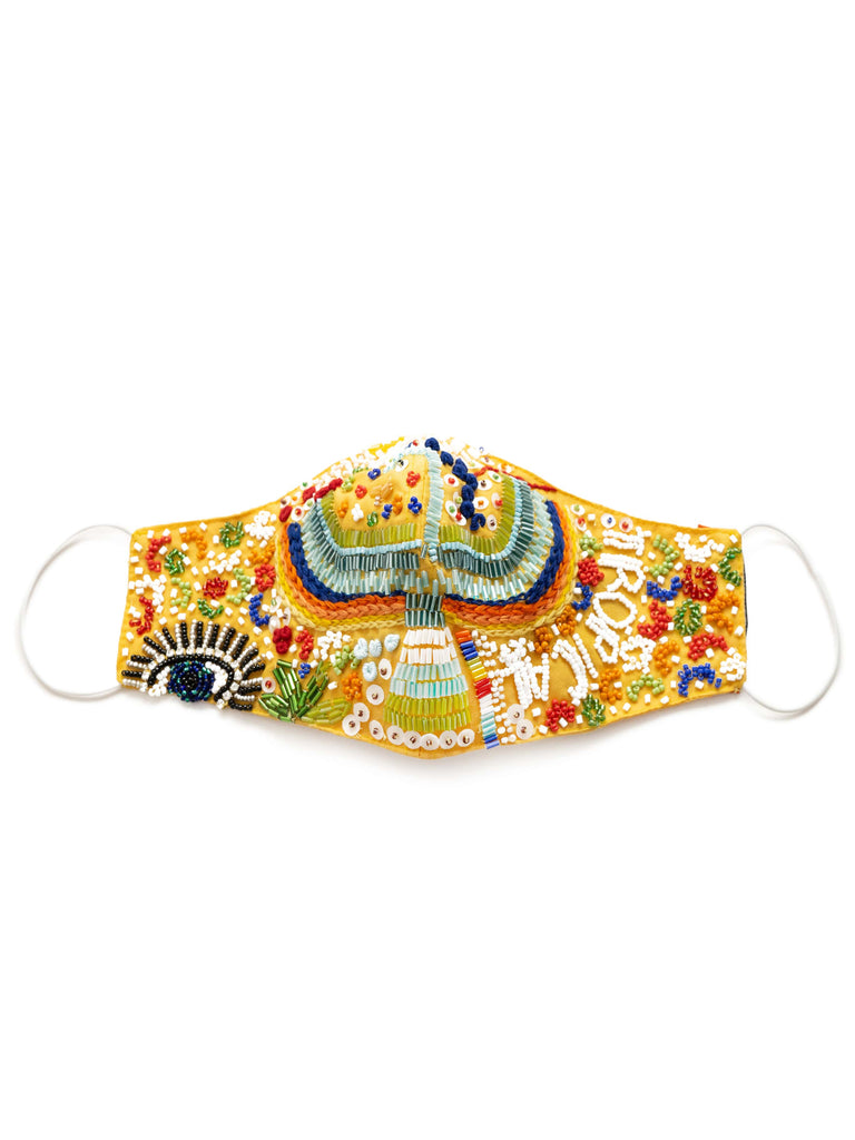 Hand Embellished Face Mask In Tropical Print