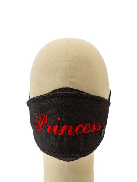 Cotton Face Mask With Embroidered 'PRINCESS' Message