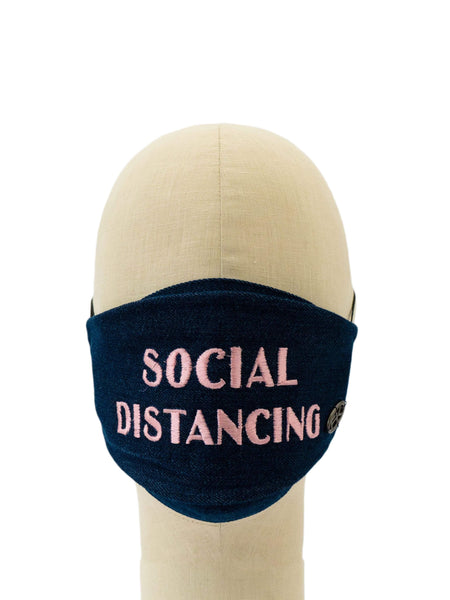 Cotton Face Mask With Embroidered 'SOCIAL DISTANCING' Message