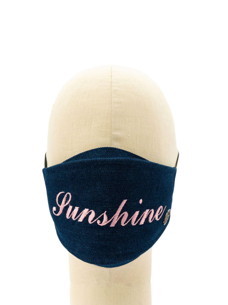 Cotton Face Mask With Embroidered 'SUNSHINE' Message
