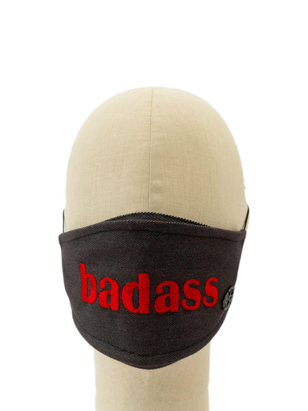 Cotton Face Mask With Embroidered 'BADASS' Message