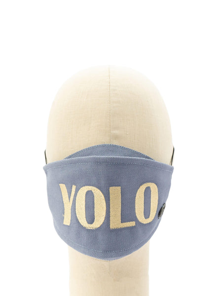 Cotton Face Mask With Embroidered 'Y.O.L.O.' Message