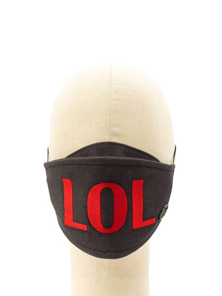Cotton Face Mask With Embroidered 'LOL' Message