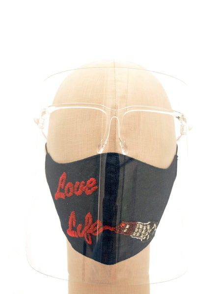 Cotton Face Mask With Hand Embellished Love Life Lipstick Graphic
