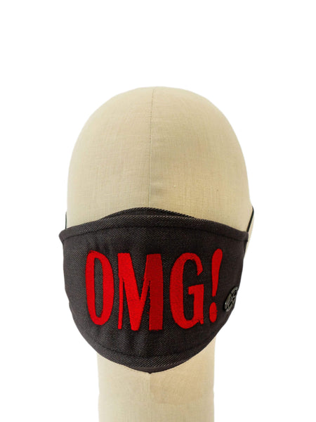 Cotton Face Mask With Embroidered 'OMG!' Message