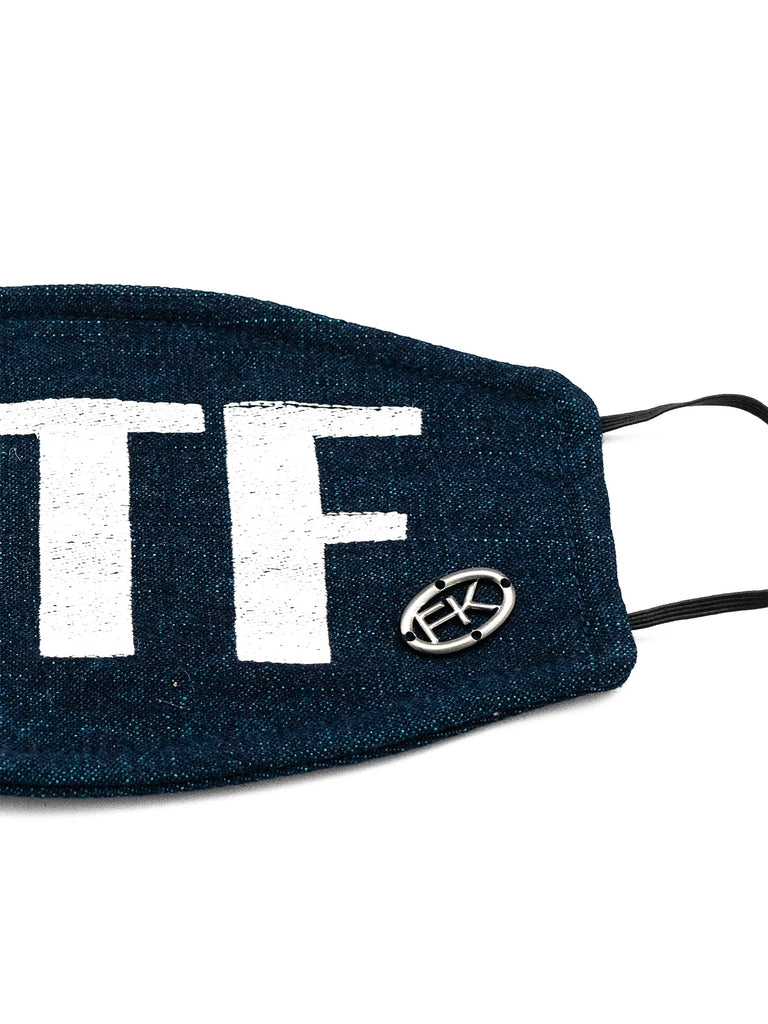 Cotton Face Mask With Embroidered 'WTF' Message