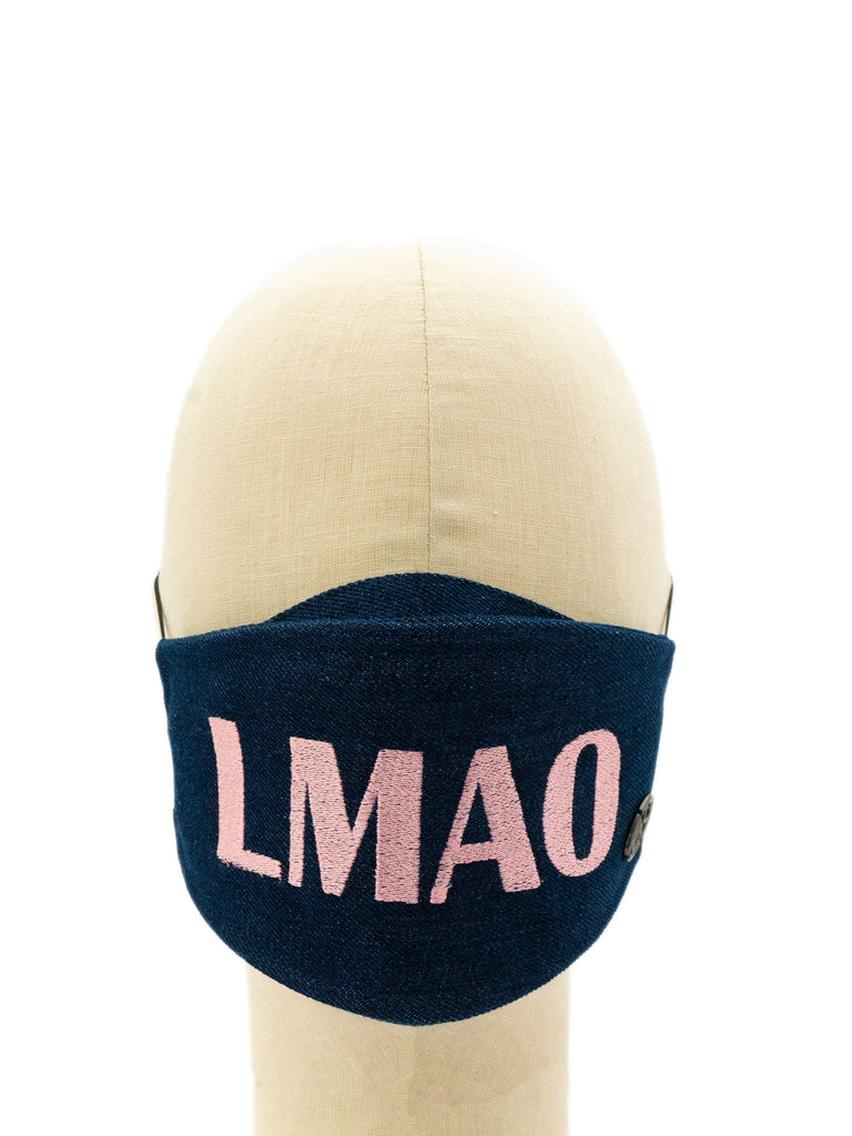 Cotton Face Mask With Embroidered 'LMAO' Message