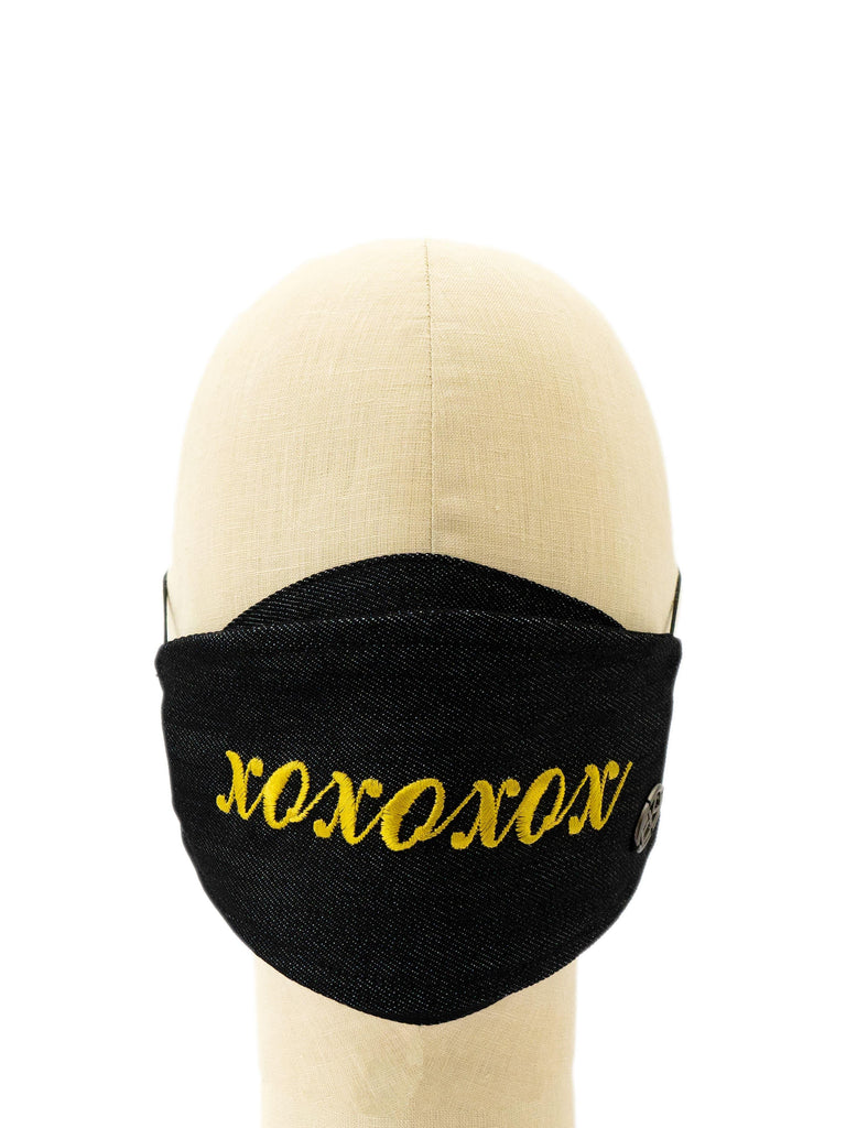 Cotton Face Mask With Embroidered 'XOXOXOX' Message