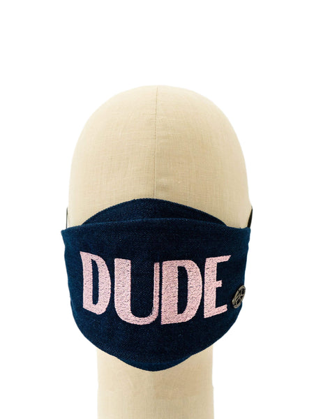 Cotton Face Mask With Embroidered 'DUDE' Message