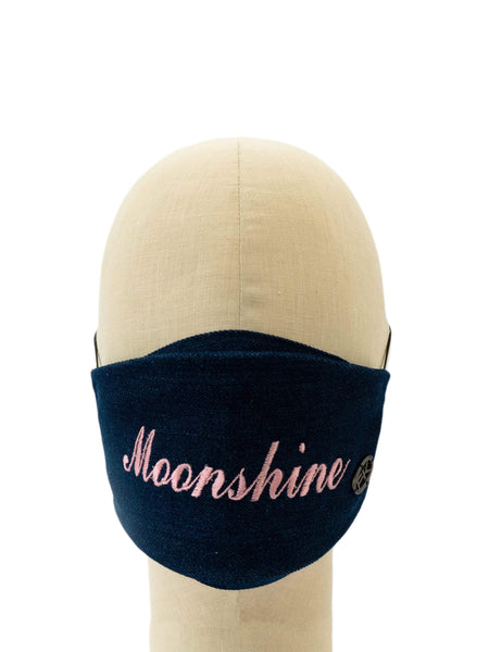 Cotton Face Mask With Embroidered 'MOONSHINE' Message