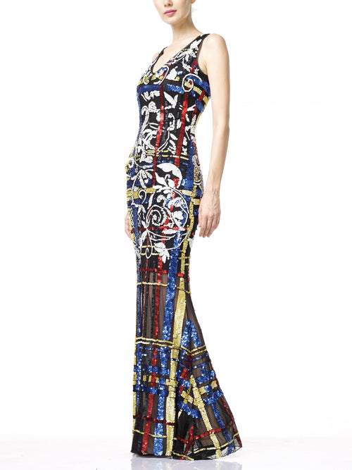 CARDI Evening Dress- Multi Coloured