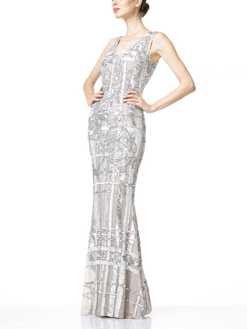 CARDI Evening Dress- Silver