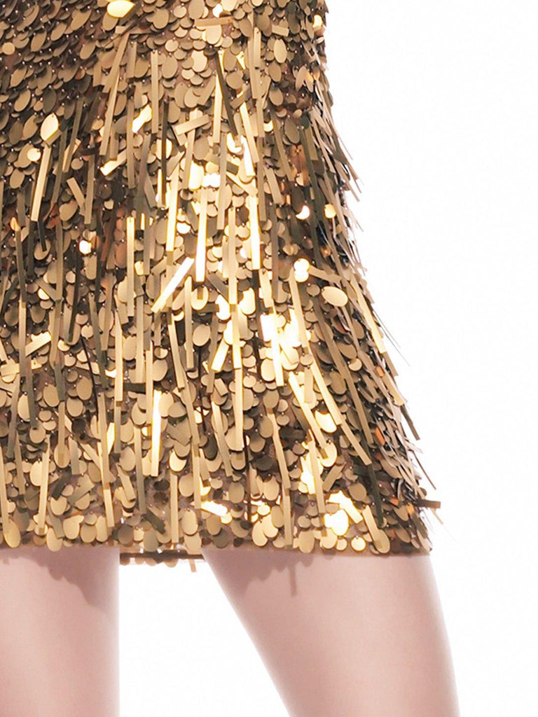 Carly Short Dress Antique Gold