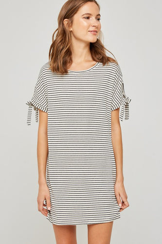 Cafe Striped Shirt Dress