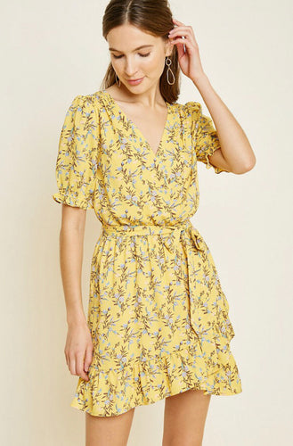 Hello Yellow Wrap Dress