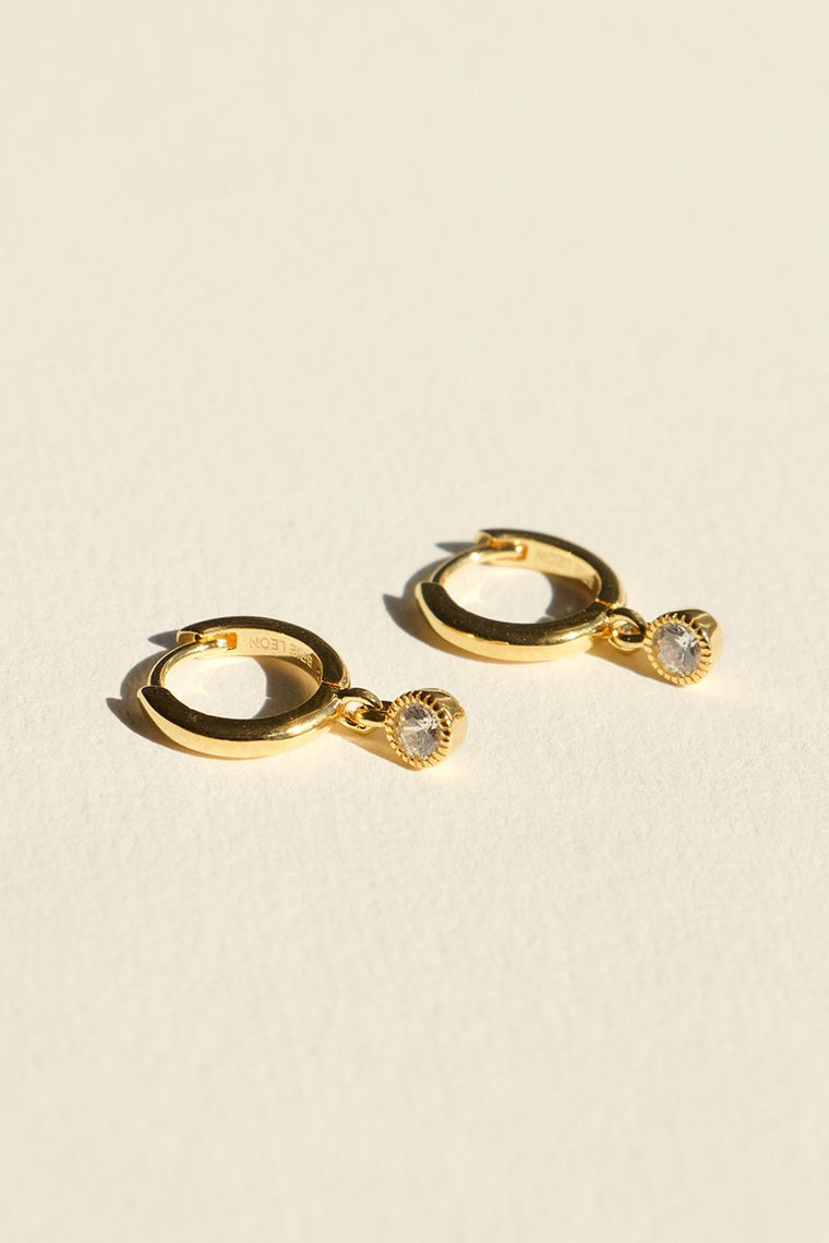 925 REDONDO DROP SLEEPER EARRINGS CLEAR