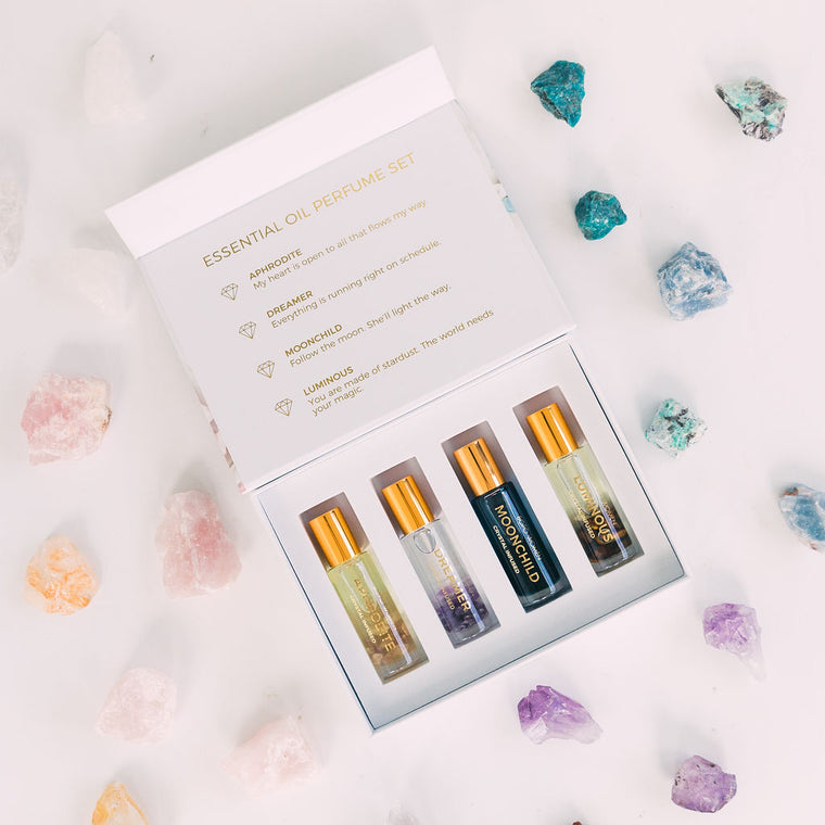 CRYSTAL PERFUME OIL ROLLER GIFT SET
