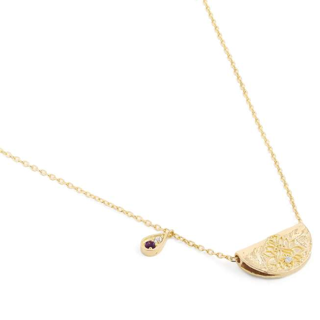 AWAKEN YOUR SENSES LOTUS BIRTHSTONE NECKLACE - FEBRUARY