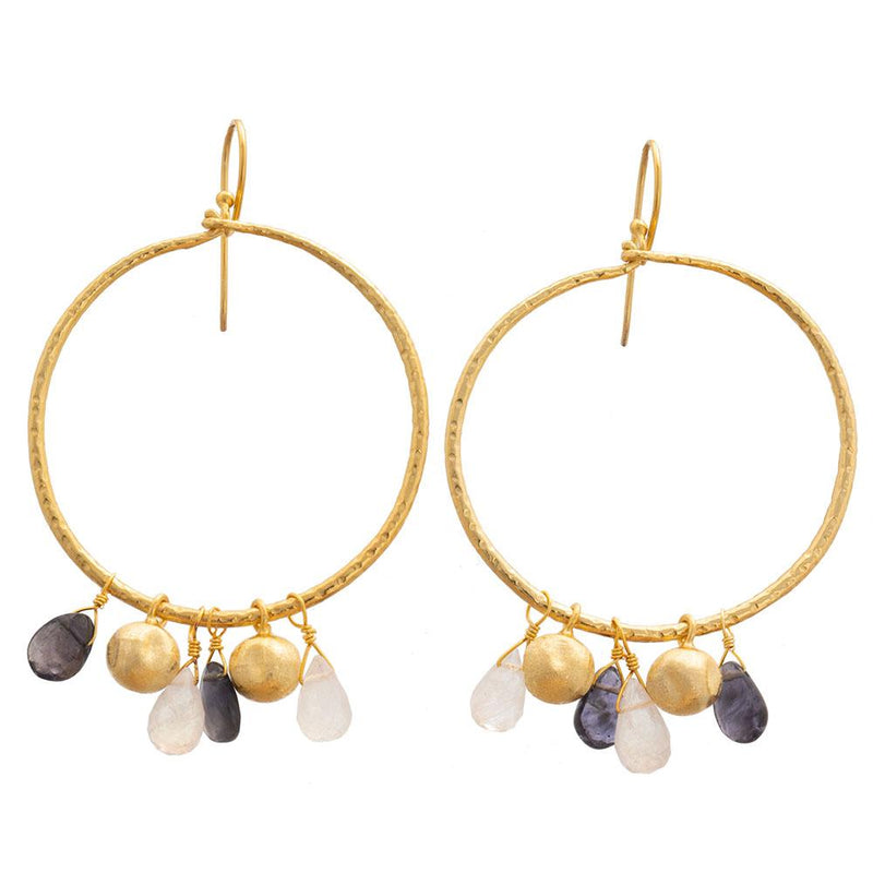 Iolite & Moonstone hoop earrings