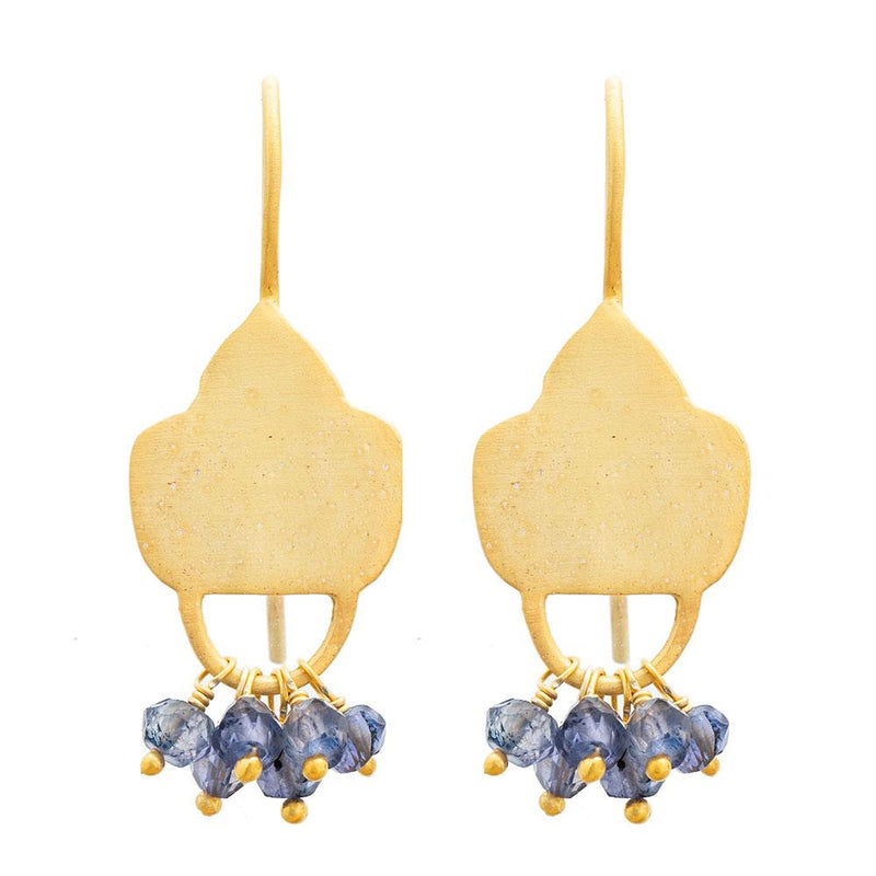 Gold plate Iolite shield earrings