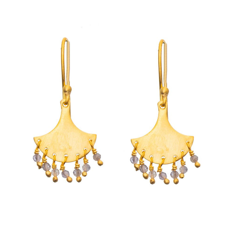 Gold plate Iolite splash earrings