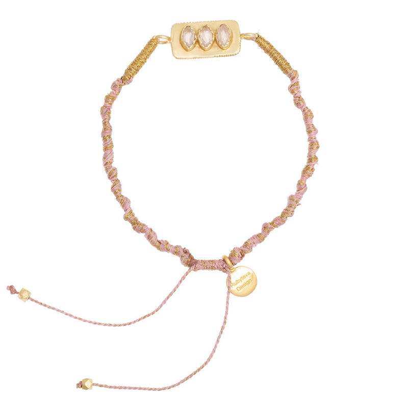 Rose Quartz adjustable silk bracelet