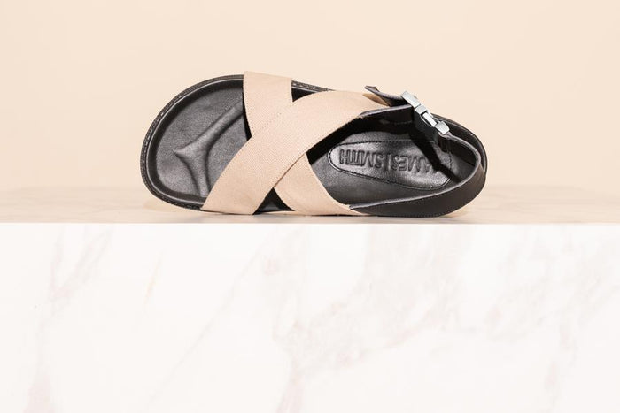'Condotti Sandal' - Cream Canvas