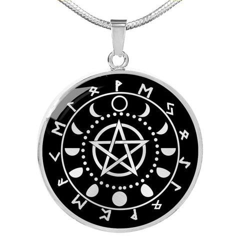 Pentacle Moon Pendant with Necklace