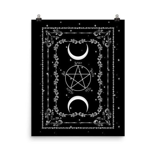 Pentacle Print Witch Room Decor