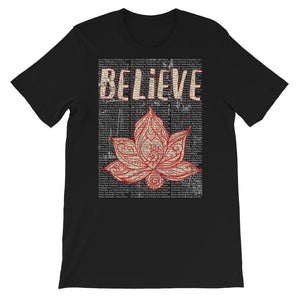 Believe - Short-Sleeve Unisex T-Shirt - GrungeEffect2BlackBGRemoved12Aug