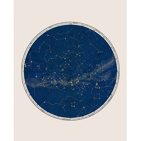Blue Constellation Chart Print