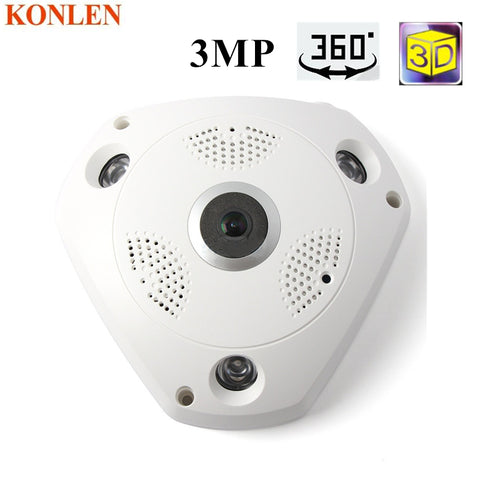 360 Camera IP 3MP Fish Eye Panoramic 1080P WIFI PTZ CCTV 3D VR Video IP Kamera Cam Micro SD Card Audio Remote Home Monitoring