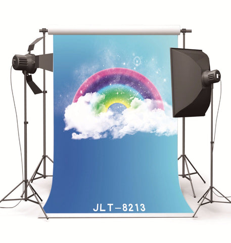 Blue Sky Rainbow Clouds  Photography Backdrop Vinyl Cloth Background Photocall for Wedding Children Baby Photo Studio Props