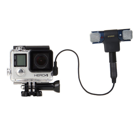 For gopro hero 4 waterproof case Housing Cover Mini Stereo Microphone Adapter Mount for Go Pro Hero4 Hero 3+ plus Accessories