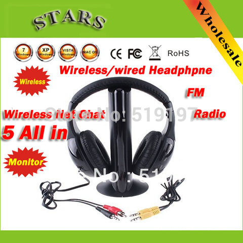 Fashion Professional 5 in 1 Wireless Earphone Headphone Monitor FM Transmitter for MP3 PC TV CD