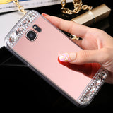 FLOVEME S8 Plus S7 Edge Rhinestone Mirror Case For Samsung Galaxy S8 Plus S7 Edge S6 Edge Galaxy A3 A5 2017 Phone Accessories