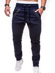 Zippers Embellished Drawstring Jogger Pants