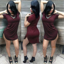 Women's Short Sleeve Side Slit Casual T Shirt Party Mini Dress Top