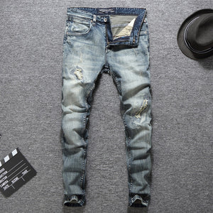 Men Jeans High Quality Slim Fit Cotton Ripped