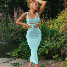 Woman's Two Piece Set Crop Top And Skirt Bodycon Matching Set