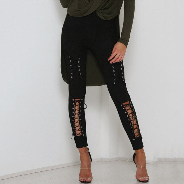 Women's Lace Up Faux Suede Stretch Bodycon Hollow Out High Waist Bandage PencilPants