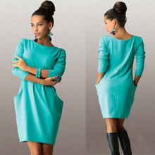 Solid Pockets Casual Loose Women's O-Neck Long Sleeve Mini Bodycon Dress