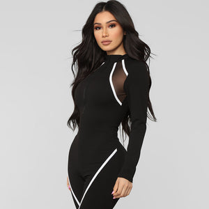 Black Full Sleeve Women Sports Jumpsuit