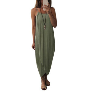 Woman's Airy Solid Color Knitting Sleeveless Loose Maxi beach Party Dress