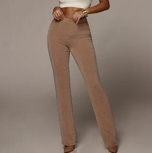 Women's High Waist Wide Leg Solid Elastich Flare Casual Beach Skinny Party Trouser Pants
