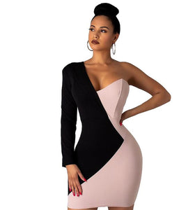 Women's One Shoulder V-neck Splicing Bodycon Above Knee Mini Midi Dress