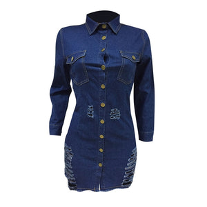 Women's Buttons Up Turn Down Collar Long Sleeve Denim Mini Holes Night Club Party Jeans Dress